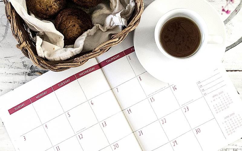 clear calendar over coffee
